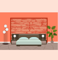 bright bedroom interior in red colors with vector image