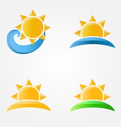 Bright sun icons with sea sand and grass vector