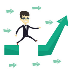 Business man jumping over gap on arrow going up vector