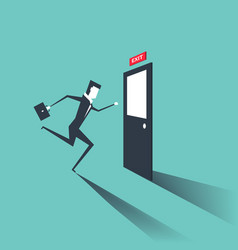 businessman run to exit door vector image