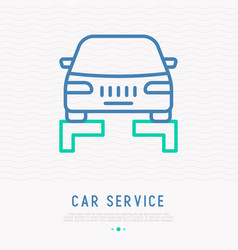 Car lifting thin line icon vector