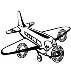 Cartoon airplane black white vector