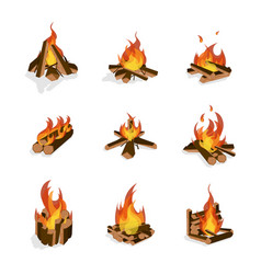 cartoon fire wood and campfire set vector image