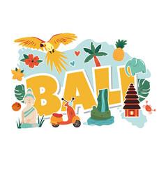 Cartoon with bali landmarks symbols vector