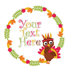 Cartoon with cute turkey besides maple leaves and vector