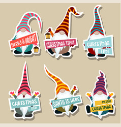 christmas stickers collection with gnomes vector image