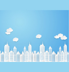 Cityscape paper art style background vector