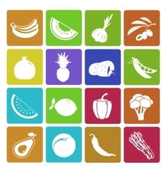 Colorful fruit and vegetable icon set vector image
