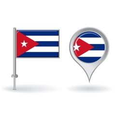Cuban pin icon and map pointer flag vector