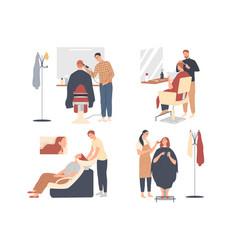 Customer service in hairdressing salon men vector