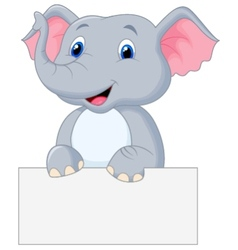 Cute elephant cartoon holding blank sign vector