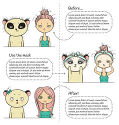 cute facial treatment three steps instruction vector image