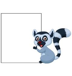 Cute lemur cartoon holding blank sign vector