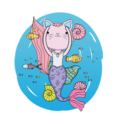 cute purrmaid undersea scene vector image