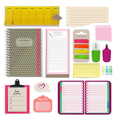 different notebooks notes daily agendas and vector image