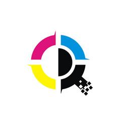 Digital printing logo design template vector