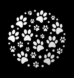 Dog footprints on black vector