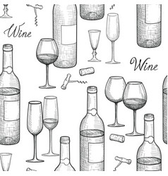 drink wine seamless engrave pattern wine glass vector image
