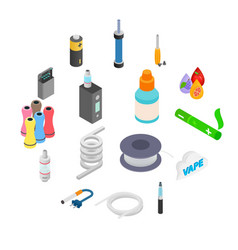 electronic cigarettes isometric 3d icons vector image