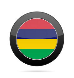 Flag of mauritius shiny black round button vector