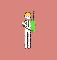 Flat shading style icon soldier holding walkie vector
