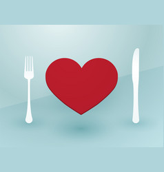 fork knife and red heart vector image