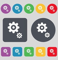 gears icon sign A set of 12 colored buttons Flat vector image