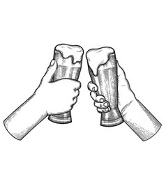 graphic hands with mugs of beer vector image