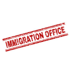 Grunge textured immigration office stamp seal vector