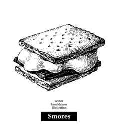 hand drawn sketch smores wafer crackers with vector image