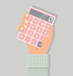Hand with a calculator vector