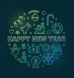 happy new year round colorful linear vector image