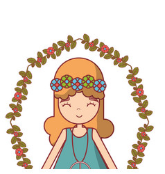 hippie woman peace and love vector image