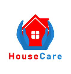 house care hand logo design template vector image