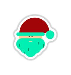In paper sticker style santa vector