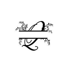 Initial q decorative plant monogram split letter vector