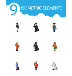 isometric human set of hostess guy detective and vector image