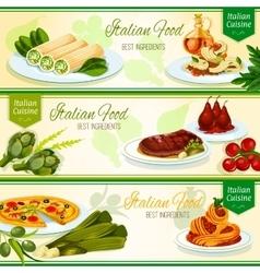 Italian cuisine restaurant menu banners design vector