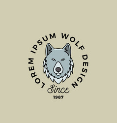 Line style wolf face with retro typography vector