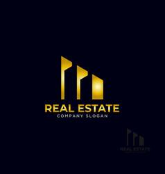 Logo template real estate apartment condo house vector