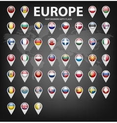 Map markers with flags - Europe Original colors vector