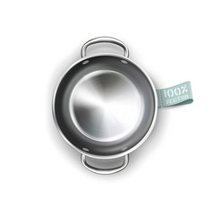 Metallic pan isolated on white background vector