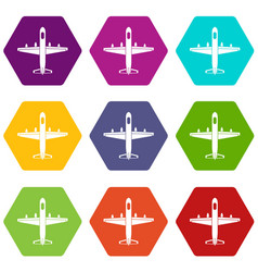 military plane icon set color hexahedron vector image