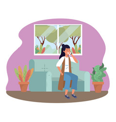 Millenial person sitting using smartphone indoors vector