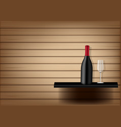 mock up realistic wine bottle and glass vector image
