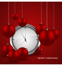 modern red christmas balls with watch vector image