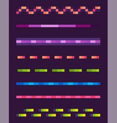 Neon lines set space pixel game shoot vector