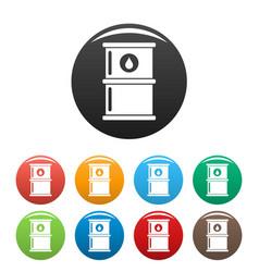 oil petrol barrel icons set color vector image
