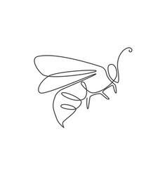 One continuous line drawing elegant bee vector