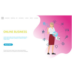 Online business web poster woman working worldwide vector